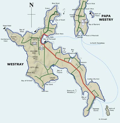 Map of Westray showing bus route